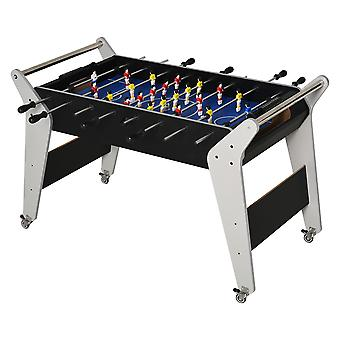HOMCOM 4.8ft Foosball Table Football Game Table Trolley with Wheels for Indoor Outdoor Soccer Game Kids Family Play Sports Fun