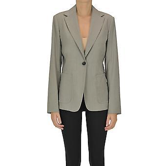 Max Mara Ezgl137087 Women's Grey Wool Blazer