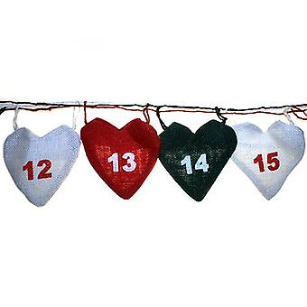 Christmas Hearts Jute Advent Calendar Garland