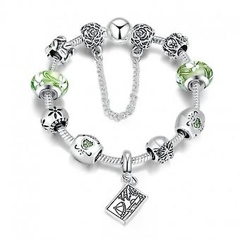 Silver Plated Snake Bracelet With Charms - 5178