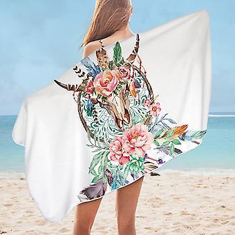 Floral Bull Skull and Dream Catcher Microfiber Beach Towel