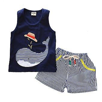 Pantaloncini di cotone bambino e maglietta balena senza maniche