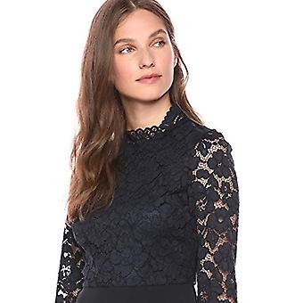 Lerche & Ro Frauen's Langarm gemischte Spitze Kleid, dunkle Marine 8