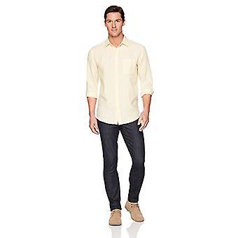 أساسيات الرجال & apos;ق العادية تناسب طويل الأكمام الكتان قميص, أصفر, كبير