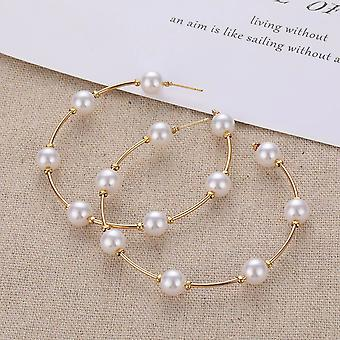 Statement Pearl And Gold Hoop Earrings