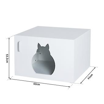 PawHut Wooden Cat Litter Box Toilet Home Cabinet Self Cleaning Kitty House Bathroom Furniture Hidden White 63Lx53.5Wx41H (cm)
