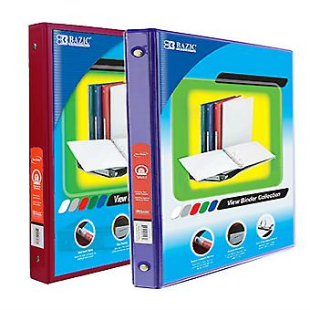 Combo15, BAZIC 1/2 Inch 3-Ring View Binder with 2-Pockets (Case pack of 24 consist 12-Burgundy & 12-Purple)