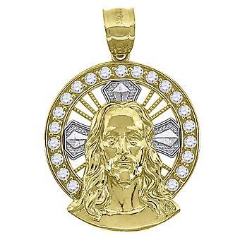 10k Deux tons Or Mens Femmes Texturé Crucifix Croix Religious Charm Pendentif Collier Mesures 32.8x22.50mm Bijoux Cadeau
