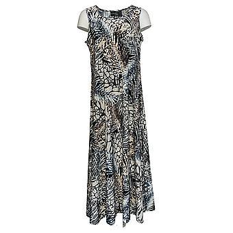 Attitudes by Renee Petite Dress Leafy Printed Maxi Black / Gray A375422