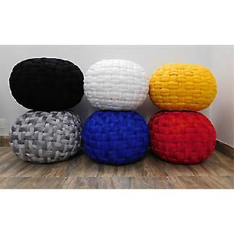 Spura Home Hand Knit Checker Board Velvet Ottoman Foot-Stools Pouf Seating