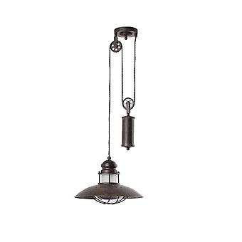 1 Light Dome Ceiling Pendant Brown, E27