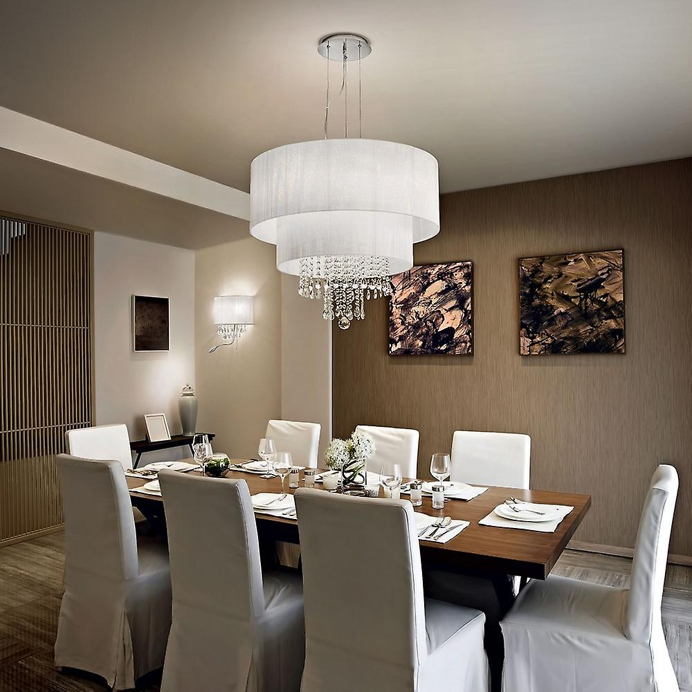 Ideal Lux Opera - 6 Light Ceiling Pendant Chrome, Crystals with And White Shade, E27