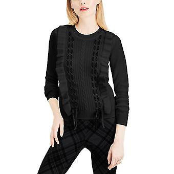 Maison Jules | Ruffle-Trim Lace-Up Sweater