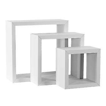 White Square Floating Box Planken - 3 verschillende maten - Set van 6