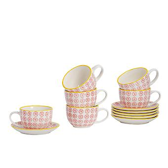 Nicola Spring 12 Piece Hand-Printed Cappuccino Cup and Saucer Set - Japanese Style Porcelain Coffee Teacups - Red - 250ml