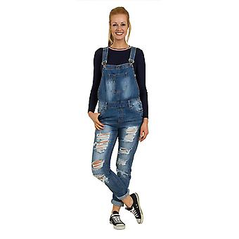 Womens Denim dungarees - lose Passform zerstört Denim
