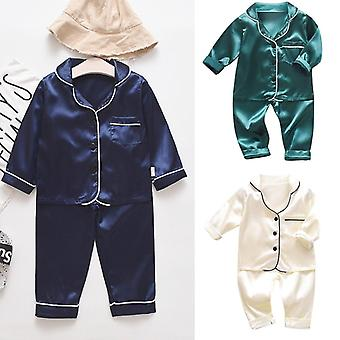 Toddler Infant Baby Boys Children's Two Pieces Long Sleeve Solid Tops+pants Pajamas Sleepwear Home Service Suit Outfits