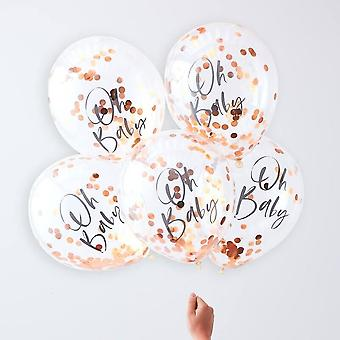 Rose Gold Baby Shower Confetti Balloons | Oh Baby Unisex Decorations x5