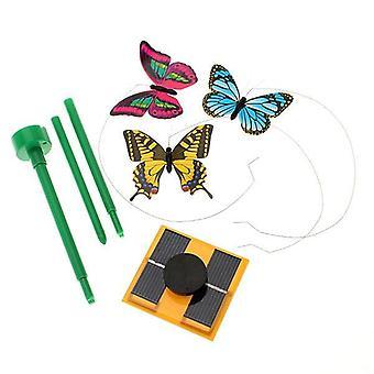 Aurinkovoimalla toimiva tanssiva lentävä perhonen kepillä puutarhapihan kasvien sisustukseen