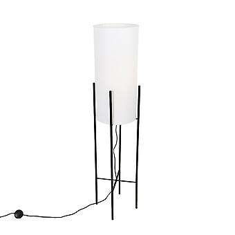 QAZQA Design floor lamp black linen shade white - Rich