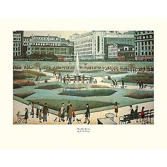 Piccadilly Gardens Poster Print von LS Lowry (14 x 11)