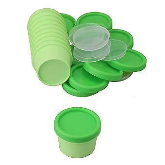 10 x Cosmetic Bottle Plastic Containers with Inner Pad and Lids Green