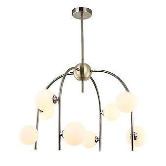 Moderne hangende hanghanger Antieke Brons 8 Licht met Witte Schaduw, G9