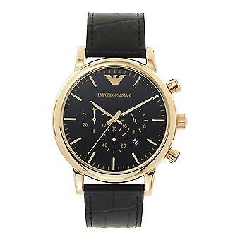 Armani Ar1917 Gold & Black Leather Mens Watch