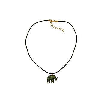 Halskette kleine Elefant Anhänger olivgrün marmoriert