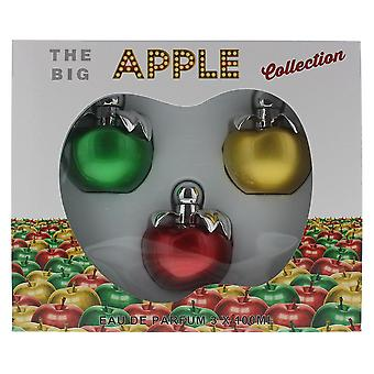 The Big Apple Collection For Her 3 x Eau de Parfum 100ml Green, Gold & Red Apple
