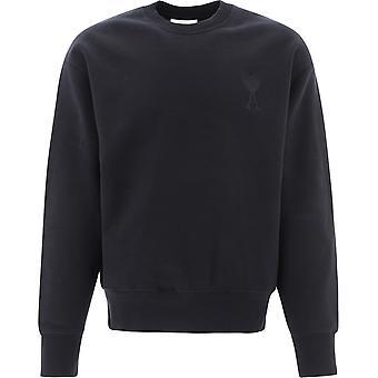 Ami E21hj028747001 Men's Black Cotton Sweatshirt
