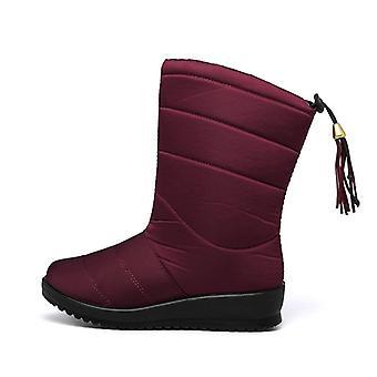 الشتاء منتصف العجل أسافين أحذية الفراء الدافئة