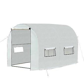 Outsunny 4L x 2W x 2H (m) Walk-in Polytunnel Greenhouse W/2 Roll-Up Zipper Doors & 6 Roll-Up Windows White