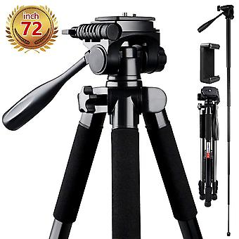 Camera tripod, fositan 72-inch compact travel tripod with quick release plate and phone holder for c