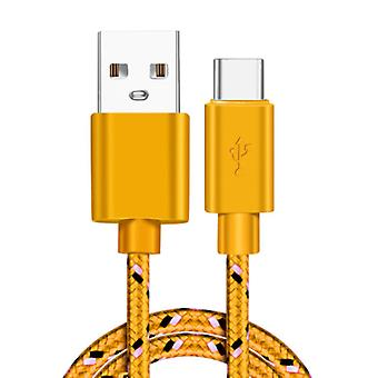 IRONGEER USB-C Charging Cable 2 Meter Braided Nylon - Tangle Resistant Charger Data Cable Yellow
