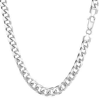 "14k White Solid Gold Miami Cuban Link Chain Mens Bracelet, 5mm, 8.5"""