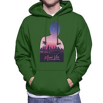 Miami Vice Sunset City Silhouette Men's Hooded Sweatshirt