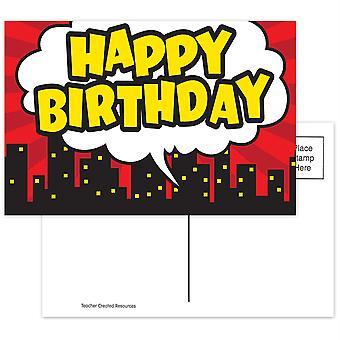 Superhéroe Feliz Cumpleaños Postal, Paquete de 30