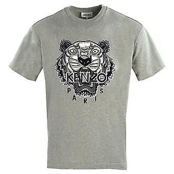 Kenzo Mens Tiger Icon Logotipo Cinza Oversized T-Shirt