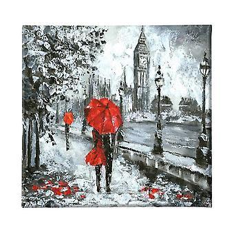 Mehrfarbige London Malerei in Polyester, Holz, L60xP3xA60 cm