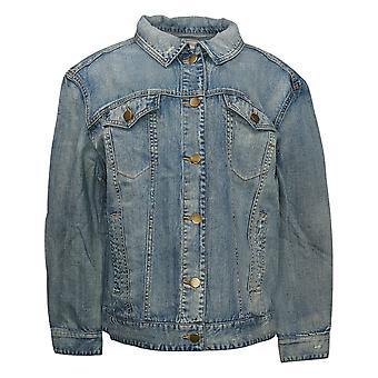 Rachel Hollis Ltd Women's Distressed Denim Jacket Blue A354066