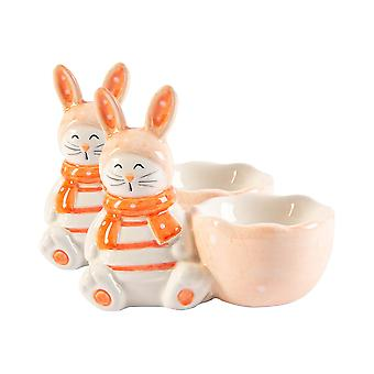 2x Easter Bunny Egg Cups Hand Painted Buffet Party Serveware Tableware 9cm Pink