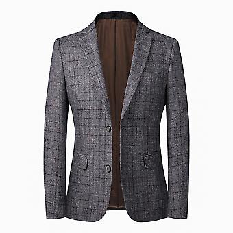 YANGFAN Men's Plaid Suit Blazer Jacket Two Button Coat
