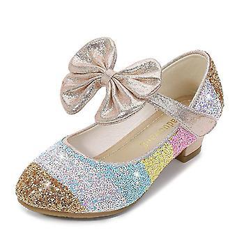 lær pu lav hæl blonder blomst barn sko