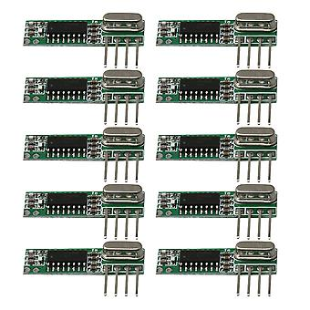 10pcs 433MHz RF High Frequency Wireless Receiver Module Kit DC3-5.5V Green
