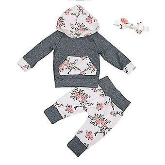 Baby Autumn Clothes Long Sleeve Floral Hooded Top, Pant & Headband Set