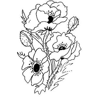 Poppies Wood Mounted Stamp
