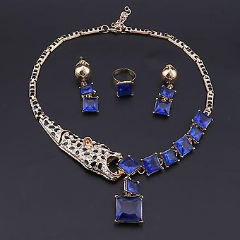 Crystal Leopard Statement Necklace Earring Ring
