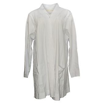 Isaac Mizrahi Live! Women's Sweater Plus Open Knit Cardigan White A374242