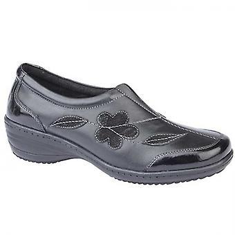 Mod Comfys Nancy Ladies Leather Slip On Shoes Black